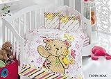 Kupon oso Home acolchada Baby Set de funda de edredón (100x 150cm), color azul _ blanco multicolor rosa Talla:100 x 150 cm
