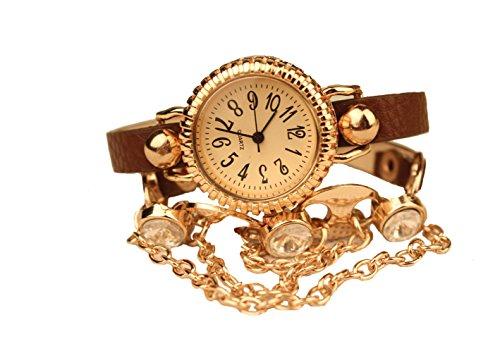 Dayan Fashion Women'S Watch Diamond Decor Bracelet Bohemian Brown