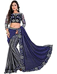 Siddeshwary Fab Womens Heavy Lycra Floral Embroidered Fancy Bridal Saree (Blue & Grey)