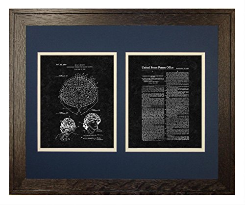 "Camouflaging Covering For Military Helmets Patent Art Black Matte Print in a Rustic Oak Wood Frame (16"" x 20"")"