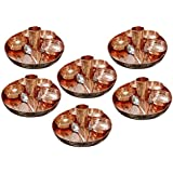 AsiaCraft Indian Dinnerware Pure Copper Traditional Dinner Set Of Thali Plate, Bowls, Glass And Spoon, Diameter...