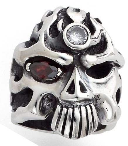 Stainless Steel Casting Skulls Ring w/ Flaming Red Eye (Available in Sizes 10 to 14) size 12