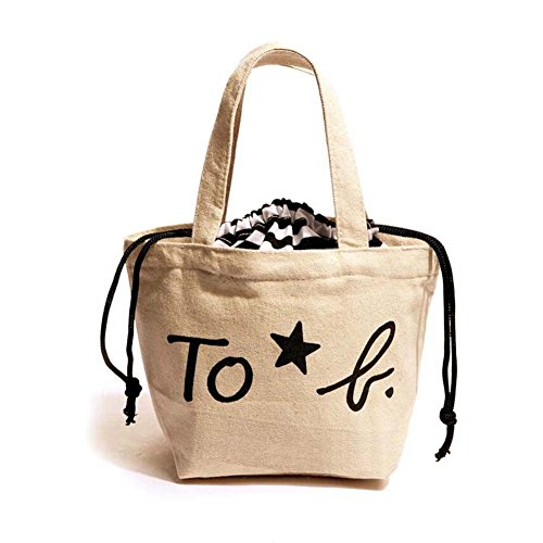 Ibaste Mini Lunch Tote Bags Small Canvas Lunch Bag For Women Words Drawstring Style Food Handbag (Beige) front-226404