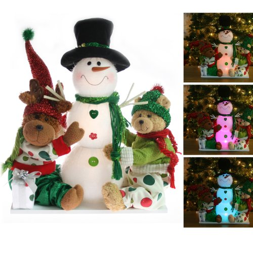 Large Pre-Lit Colour Changing LED Snowman Reindeer & Bear Christmas Window / Table Decoration - Height 36cm