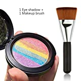 Travelmall Rainbow Cake eyeshadow blush makeup rainbow highlighter & one matching makeup brush (rainbow)