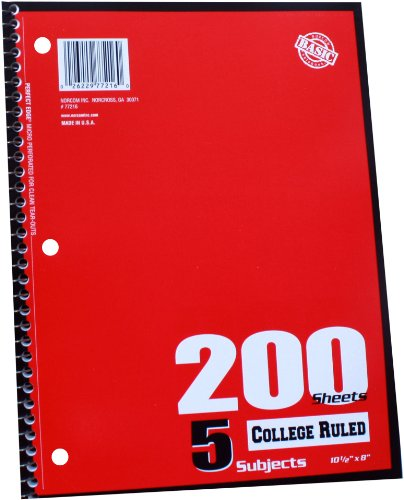 Norcom 5-Subject Notebook College Ruled, 10.5 x 8 Inches, 5 Assorted Colors, 200-Sheets, 1 Notebook per Order, Color May Vary (77216-24) (Norcom Inc Notebook compare prices)
