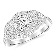 1.5 Carat Designer Halo Milgrain Diamond Engagement Ring with a 0.75 Carat F-G VS2-SI1 Center