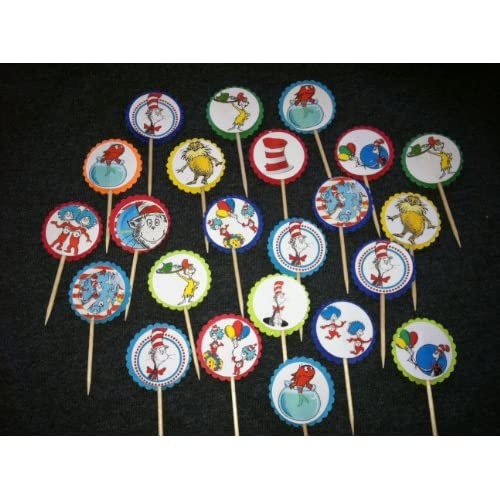 Amazon.com: 24 Dr. Seuss Cat in the Hat Cupcake Toppers