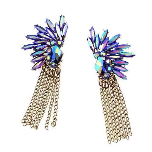 Rainbow Blue Rhinestone Floral Earrings with Chain Tassels