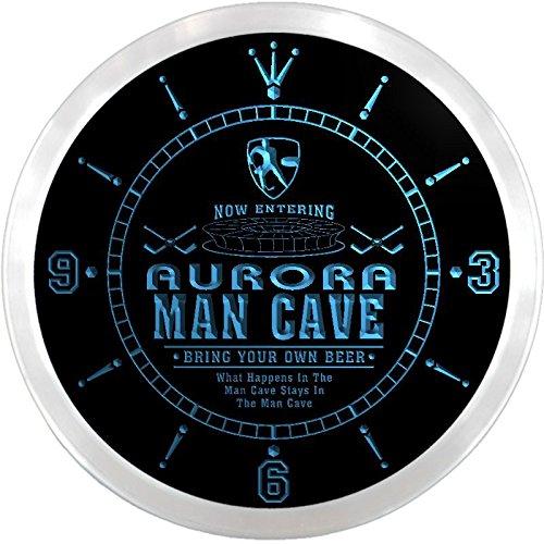 Ncqe2106-B Aurora Ice Hockey Mave Cave Den Beer Bar Led Neon Sign Wall Clock