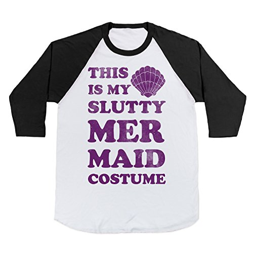 Cotton This is My Slutty Mermaid Costume Baseball Tee T-Shirt