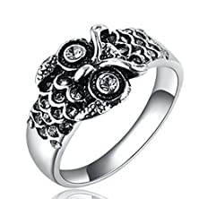 buy [Eternity Love] Women'S 316L Stainless Steel Timeless Vintage Owl Cz Crystal Ring Best Promise Rings For Her Anniversary Cocktail Bands Tivani Valentine'S Day Gifts