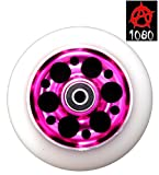 Ten Eighty 110mm Stunt Scooter Wheel with Pink Drilled Alloy Core & White PU Tyre