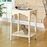 Accent Side Table with Bottom Shelf in Matte Off White Finish