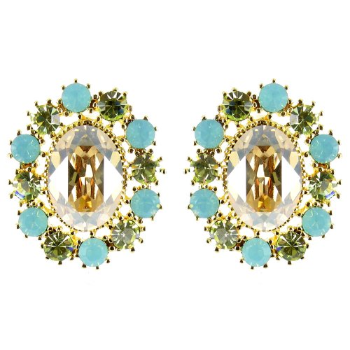 Green And Peach On Gold Plated Timeless Vintage Style Earrings front-636332