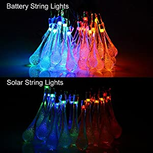 [Battery Included]Rechargeable Battery Operated String Lights with Timer,easyDecor 8Mode 30 LED 21ft Multi-color Waterproof Decorative Christmas Fairy Water Drop for Indoor,Party,Outdoor,Bedroom,Tree