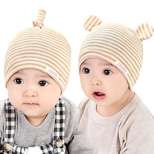 Gongzhumama 2 pack Unisex Newborn Baby Organic Cotton Twist Cap Kawaii Infant Hat