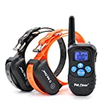 Petrainer 330 Yards Remote Training E-collar Pet998dbb Rechargeable and Waterproof Dog Training Collar for 2 Dogs Shock Collar with Safe Beep, Vibration and Shock Electronic Electric Collar for Medium or Large Dog Trainer with ly Upgraded-blue Backlight S