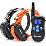 Petrainer 330 Yards Remote Training E-collar Pet998dbb Rechargeable and Waterproof 2 Dog Training Collar with Safe Beep, Vibration and Shock Electronic Electric Collar with Silicone, Visible Buttons