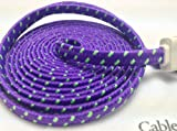 CablesFrLess (TM) 10ft Flat Braided Micro USB Charging / Data Sync Cable fits most Android Phones and Tablets Samsung Galaxy S3 S4 Reverb Note Tab Google Nexus Kindle Nokia Lumia HTC One ASUS LG G2 Pantech Blackberry Motorola Sony Xperia etc. (Purple)