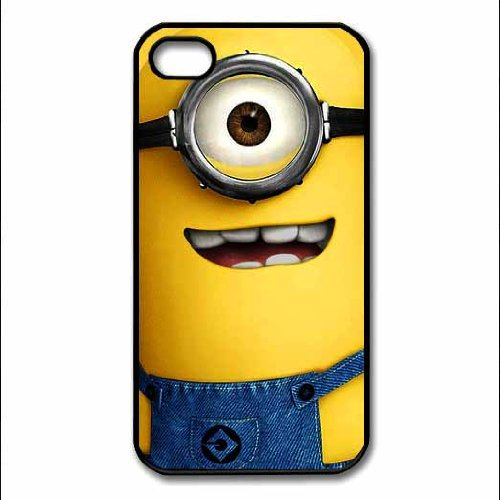 Despicable Me Minion Phil Fashion Design Hard Case Cover Skin Protector for Iphone 4 4s Iphone4 At&t Sprint Verizon Retail Packing(black Pc+pearlescent Aluminum) Ok-020