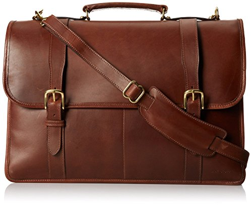 Jack Georges Mens [Personalized Initials Embossing] University Triple Gusset Flap-Over Leather Briefcase in Brown Jack Georges Nylon Briefcase