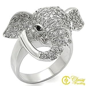 Size 10 Elephant Jet Black Crystal Brass Rhodium Ring