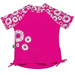 Sun Smarties Baby-Girl UPF 50+ Short Sleeve Daisy Rash Guard Swim Shirt 18M Pink