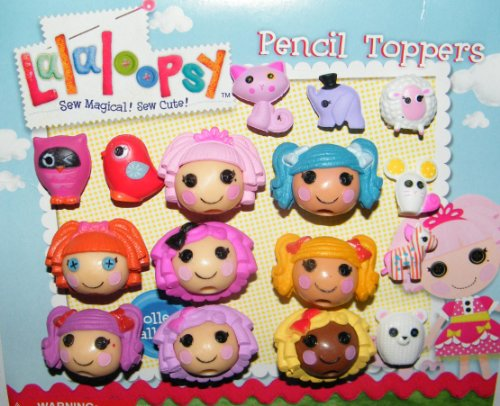 Lalaloopsy Mini Figure Pencil Toppers Set with 8 Figures and 8 Pets including Mittins, Jewel, Dot, Pillow, Bea and More!