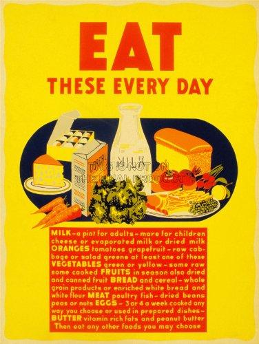 Public Information Food Health Diet Nutrition Milk Bread Usa Art Print Bb9366