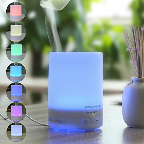 300ml Character Essential Oil Diffuser,URPOWER® Ultrasonic Air Humidifier with AUTO shut off and 8-10 HOURS Continuous Diffusing - 7 Color Changing LED Lights and 4 Timer Settings for Domicile SPA Baby Room