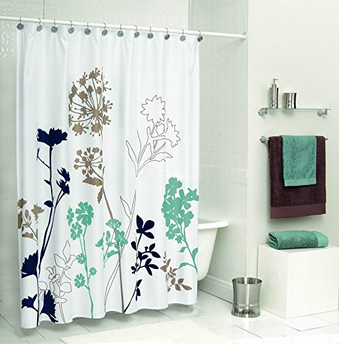 Uphome 72 x 72 inch royal blue brown and teal dandelion for Teal bathroom accessories sets