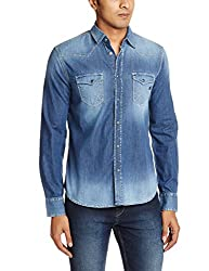 GAS Men's Casual Shirt (8059890978625_85675WY99_Large_WY99 - Blue)