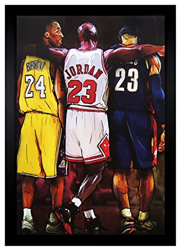 Greatness Kobe Bryant, Michael Jordan, Lebron James 24x36 Framed Poster (F2-1029) (Framed Michael Jordan Poster compare prices)