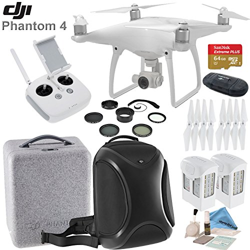 DJI Phantom 4 Bundle With 2 Long Life Batteries, SanDisk 64GB MicroSD Memory Card, DJI Multifunctional Backpack, 8 Piece Filter Kit, eDigitalUSA Brush Blower, Cleaning Kit & Microfiber Cleaning Cloth