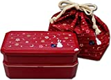 "JTD.72R - Japanese bento lunch box ""tsuki hana"" 720ml (red)"