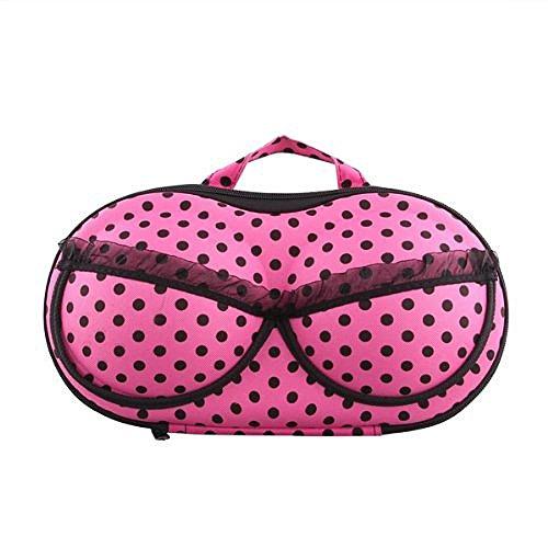SODIAL(R) Portable Sac Case Organisateur pour Sous-vetements Bra Lingerie Protection EVA Fuchsia