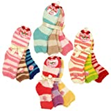 Soft Solid & Striped Winter Fuzzy Plush Socks - 3 Pairs Set, Diff Colors Avail