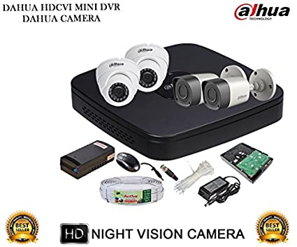 Dahua-DH-HCVR4104C-S2-4CH-Dvr,-2(DH-HAC-HFW1000RP)-Bullet,-2(DH-HAC-HDW1000RP)-Dome-Cameras-(With-Accessories,1TB-HDD)