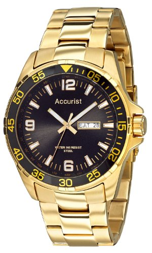 Accurist Men's Quartz Watch with Black Dial Analogue Display and Gold Stainless Steel Plated Bracelet MB1004B