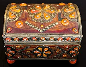 Moroccan Treasure Chest Trunk Jewelry Box Leather Inlaid Camel Bone & Hammered Metal
