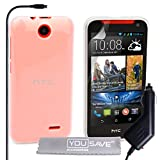 Yousave Accessories HTC Desire 310 Case Clear Silicone Gel Cover With Car Charger