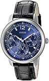 GUESS Men's U0790G2 Blue Multi-Function Watch on Black Genuine Leather Strap