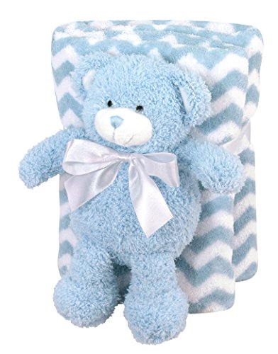 "Stephan Baby Super-Soft Coral Fleece Blanket and Floppy Bear Gift Set, Blue Chevron, 11"" - 1"