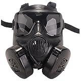 【BENRIARMY】M50ガスマスク電動ファン交換レンズ2枚付きフェイスガード迷彩バンダナプレミアムセットクリアな視界で安心安全(ブラック)