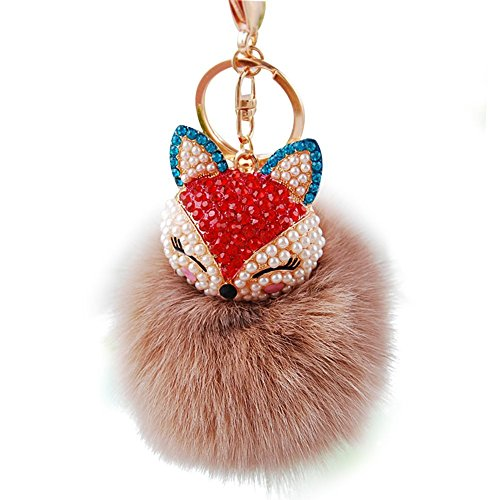 ankko-cute-fox-plush-ball-key-chain-keyring-car-key-handbag-phone-pendant-brown