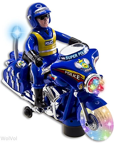 Wolvol Police Toy Motorcycle With Colorful Lights And Sirens, Sounds And Talks, Goes Around And Changes Directions On Contact