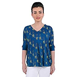 Funk For Hire Women Cotton Lycra knit Katputli printed pleated knit Top (Petrol Blue, Size L)