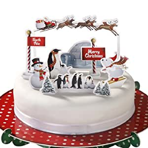 Christmas Cake Toppers, Pack of 12 Festive Cake ...
