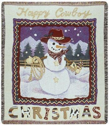 Happy Cowboy Snowman Christmas Holiday Tapestry Blanket Throw Usa Made front-1064205